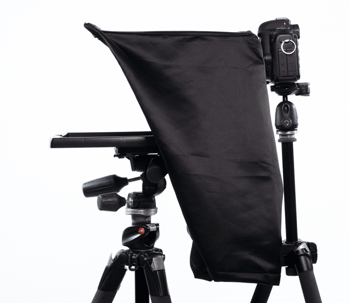 Maxi Teleprompter with Glare cover and DSLR camera