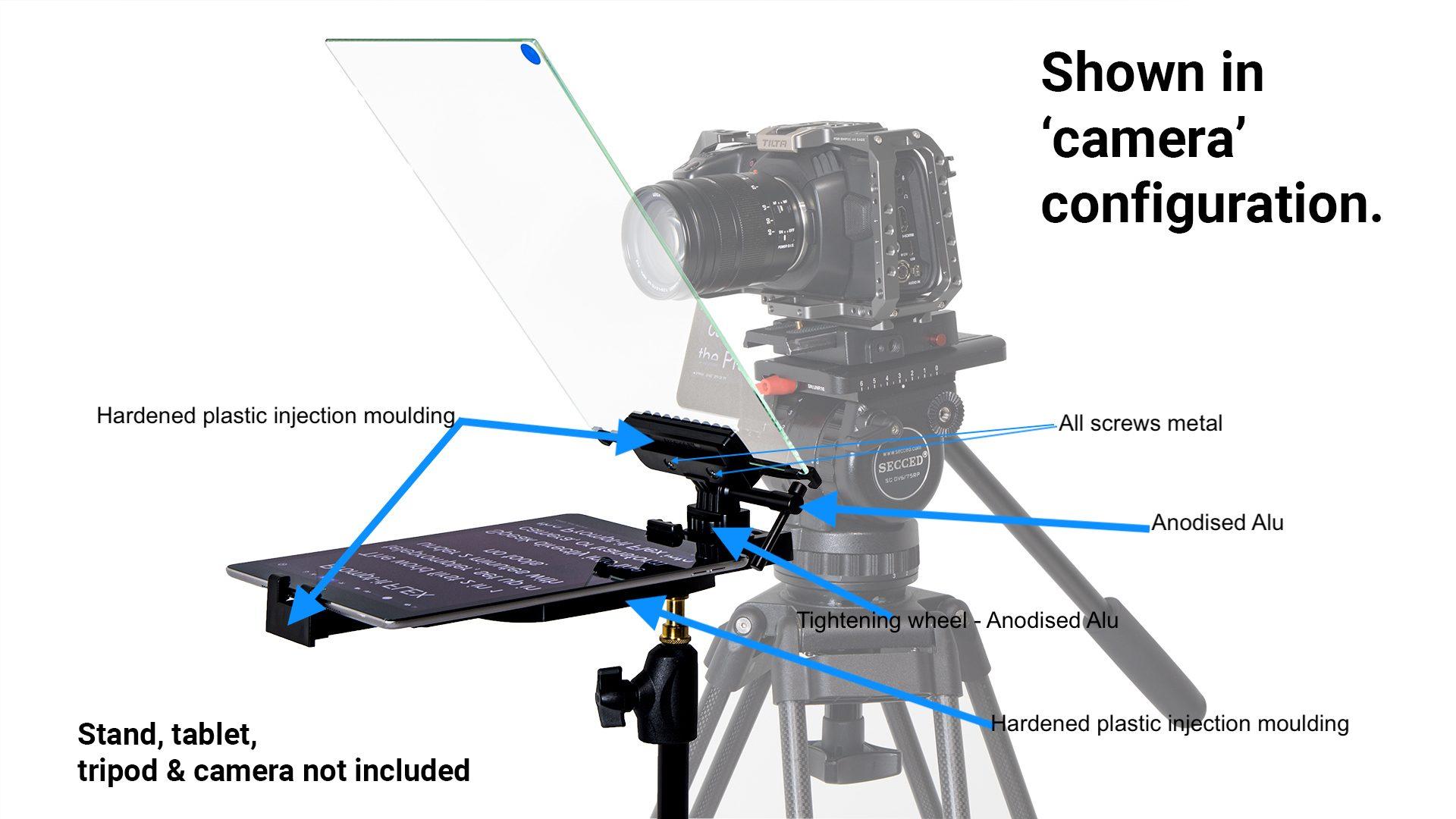 Flex teleprompter in camera configuration