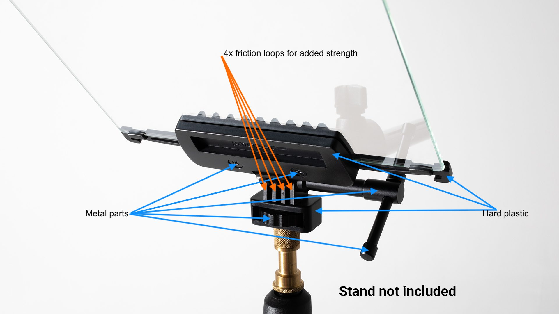 Flex teleprompter glass clamp