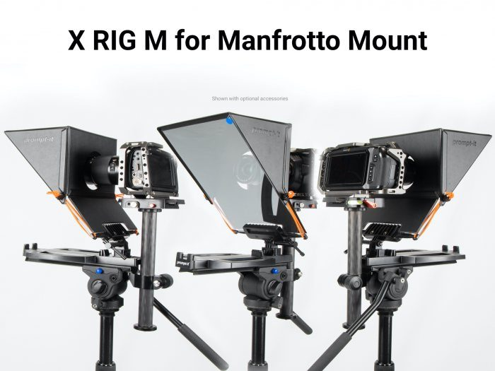 Manfrotto mount rig for the Prompt-it Teleprompters